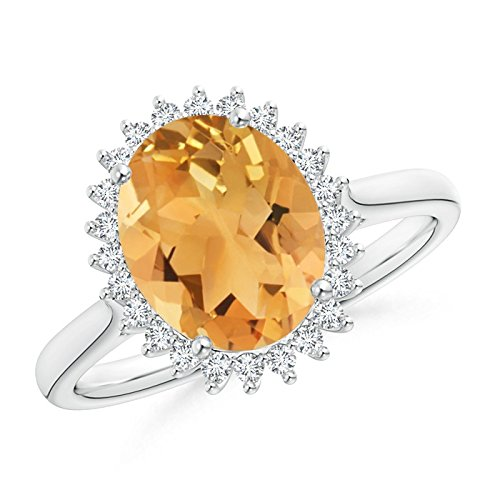 Classic Oval Citrine Floral Halo Ring in Platinum (10x8mm Citrine)