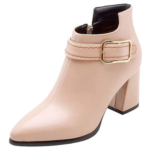 Coolcept Mujer Moda Vestido Botas Cremallera: Amazon.es: Zapatos y complementos