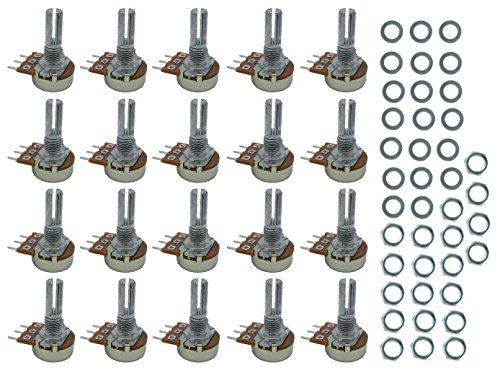 20 pcs B50K 20mm linear Potentiometer pot horizontal Terminals (50k Linear Pot)