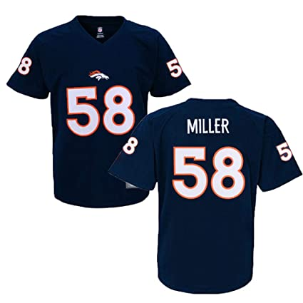 buy online 40ea7 879e5 Outerstuff Von Miller Denver Broncos #58 NFL Youth Performance Jersey  T-Shirt Navy (Youth 8-20)