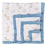 Muslin Cotton Toddler Blanket Giraffe Print Cotton Baby Quilt Soft and Breathable Baby Bed Blanket for Boys Lightweight Stroller Blanket 43'x41' (Giraffe)