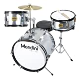 Mendini by Cecilio 16 inch 3-Piece Kids / Junior Drum Set with Adjustable Throne, Cymbal, Pedal & Drumsticks, Metallic Silver, MJDS-3-SR