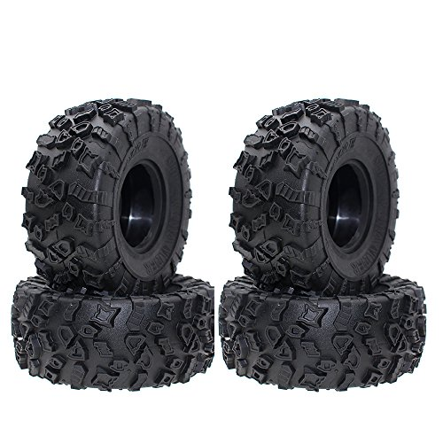 INJORA 4PCS RC 2.2 Inch Truck Tires Good Grip Rubber Tyres Wheel Tires for 1/10 RC Rock Crawler SCX10 Wraith 90056 90045 90031 90020 ()