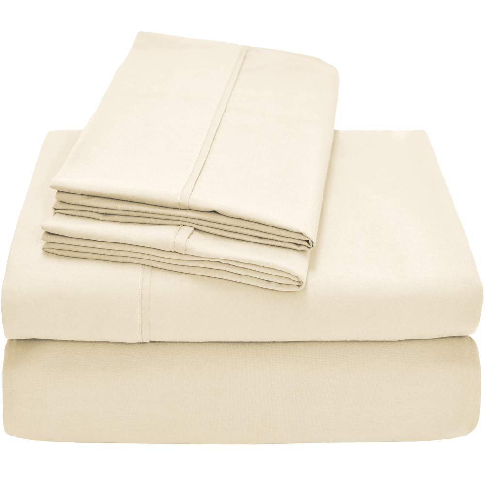 Bare Home Premium 1800 Ultra-Soft Microfiber Collection Sheet Set - Double Brushed - Hypoallergenic - Wrinkle Resistant - Deep Pocket (Twin, Ivory)