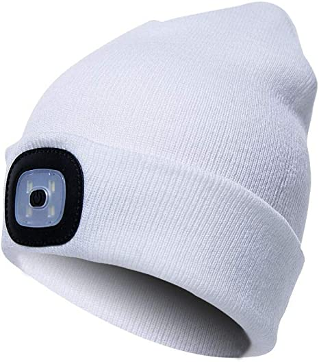 Knitted Beanie Hat Neon With LED Light Unisex Warm High Powered Head Torch Lamp