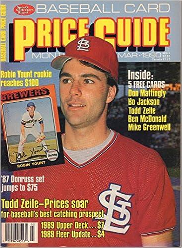 Baseball Card Price Guide March 1990 Robin Yount Don Mattingly Bo