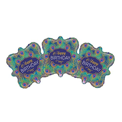 Set of 3 Happy Birthday Peacock Feather Party Balloon Bundle
