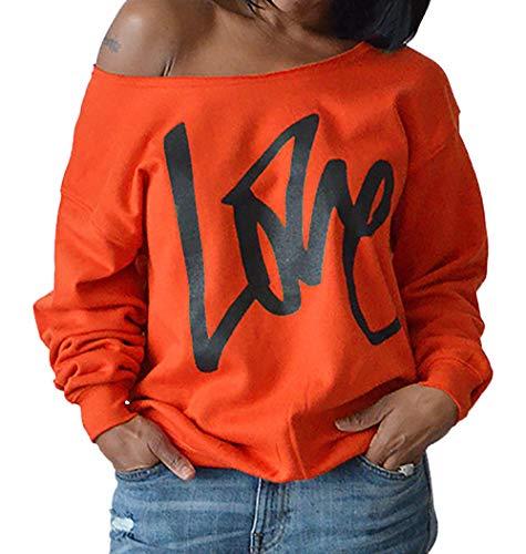 Blouse Oblique paule et Pulls Fashion Impression Printemps Tops Lache Hauts T Casual Sweat Jumpers Fashion Pullover Longues Automne Manches Shirts Simple Orange Shirts Lettre Femmes wZfUqwT