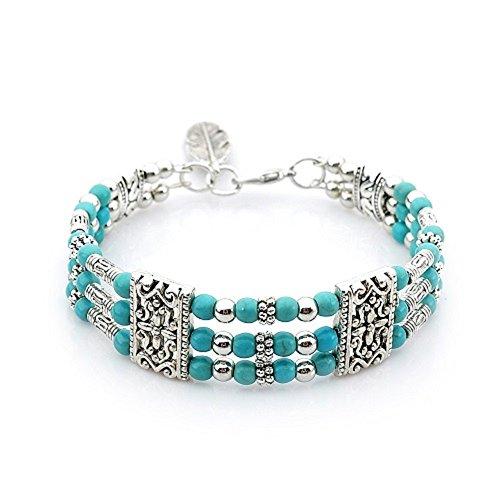 Turquoise Leaf Bracelet - Vintage Turquoise Bead Bracelet with Leaf Charm Bohemia Style Antique Silver Bangle for Women Girls