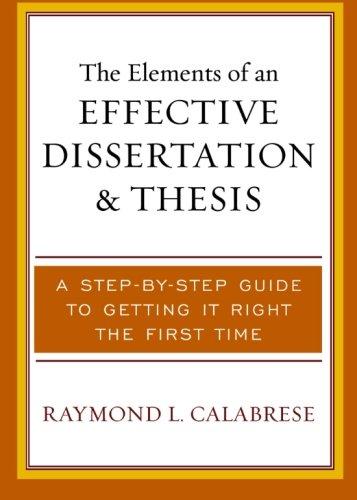 Elements Of Effective Dissertation...