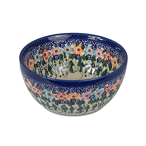 Traditional Polish Pottery, Handcrafted Ceramic Cereal or Salad Bowl 360ml (d. 13cm), Boleslawiec Style Pattern, M.701.Daisy
