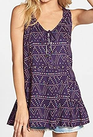 Sun & Shadow Small Junior Abstract Print Tunic Blouse Purple S