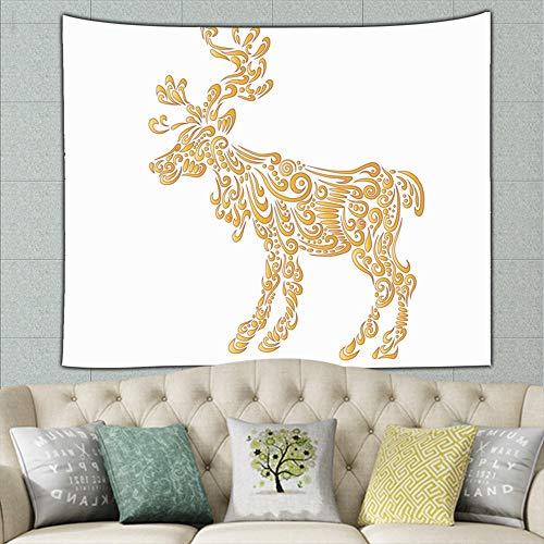 zuo chunhong5 Detailed Golden elk Animals Wildlife The Arts Tapestry Bohemian Tapestry Hippie Tapestry Bedroom Living Room Dorm Art Wall Hanging 50ʺ × 60ʺ