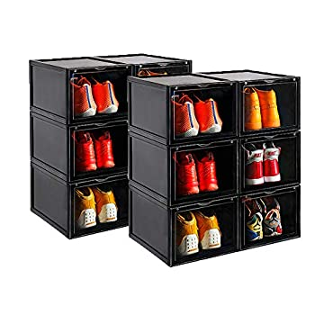 Image of Home and Kitchen AOTENG STAR Storage Shoes Box Womens Mens Shoe Storage Display Box Plastic Foldable Stackable Shoe Container Clear Closet Shelf Shoe Organizer-Six Pack(Black)