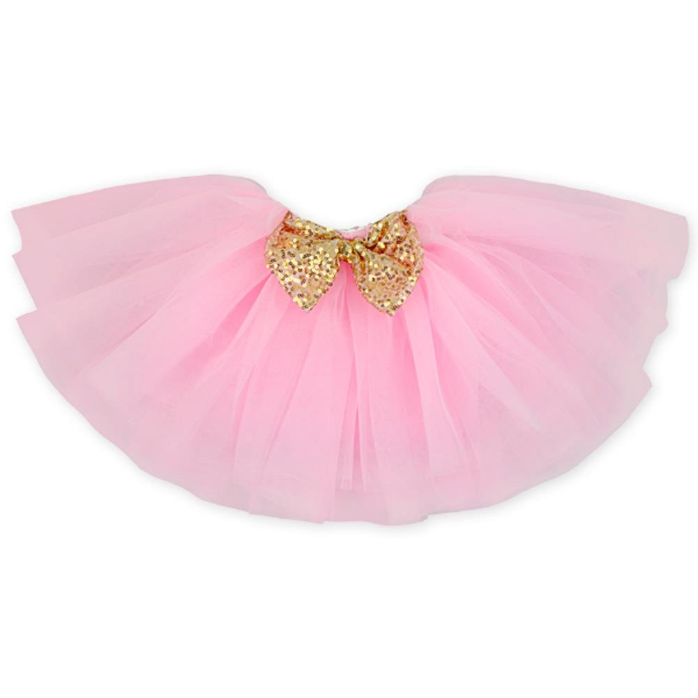 Girl's Princess 3-Layers Tulle Tutu Skirt With Sparkling Sequins Bow(1-2Y,Pink)