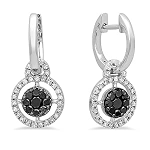 0.40 Carat (ctw) 14K White Gold Round Black & White Diamond Ladies Cluster Style Dangling Earrings