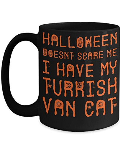 Halloween Turkish Van Cat Mug - White 11oz Ceramic Tea Coffee Cup - Perfect For Travel And Gifts]()
