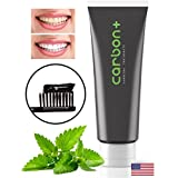Charcoal Teeth Whitening Toothpaste Activated - All Natural Black Fluoride Free Tooth Whitener Paste Powder - Best For White Teeth + Fresh Breath Tea Tree Oil / Peppermint Flavor - Carbon+ MADE IN USA