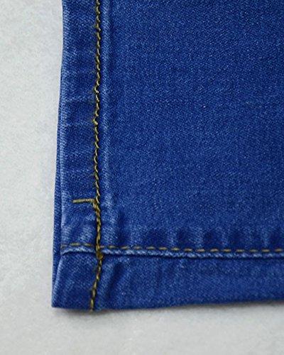Blu Strappati Strappato Pantaloni Jeans Ginocchio Denim Skinny Donna Curvy Vita Alta WWOAv