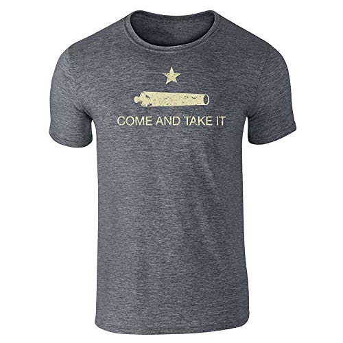 Pop Threads Come and Take It Flag Dark Heather Gray 2XL Short Sleeve T-Shirt ()
