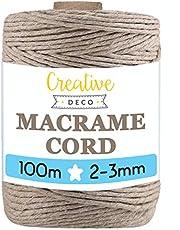 Creative Deco 100 m Donker Beige Macrame Koord Katoenen Koord | 2-3 mm (+-0.5 mm) Dikte 15-laags Koord | 328 Voeten | Grote Touwrol Natuurlijke Dikke | Perfect Beeld Hangende Draad
