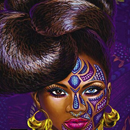 """African American Black Art Digital Print Wall Art Tapestry, Poppap Graffiti Style Noble Hairstyle Girl With Face Tattoo Earrings Metal Collar Painting Wall Decor For Living Room Bed Room/ 79\""""X 71\""""Inch"""