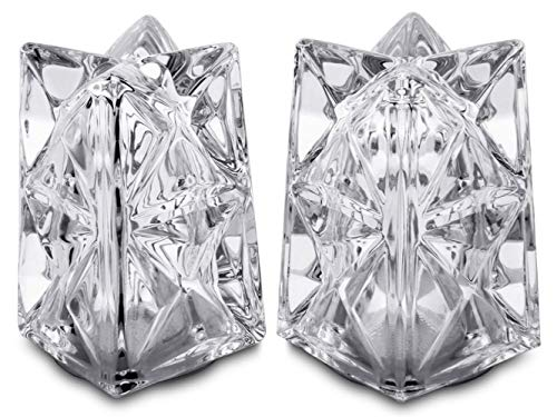 (King International 100% Crystal Glass Salt and Pepper | Set of 2 Pieces | with Sturdy stopper | Salt and Pepper Shakers for Professional Chef - Best Spice)