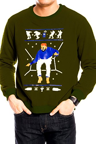 Lolli Couture Drake 1-800 Hotline Bling Ugly Christmas Sweater L OLIVE