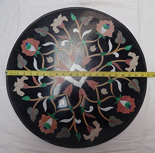 Pietra Dura Stone Marble Inlaid Coffee Side Table Floral Art