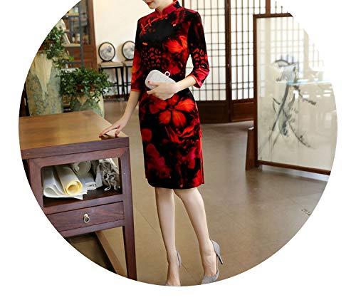 十一垂直咽頭チャイナドレスベルベットの襟の長いセクションスリムなドレス大きなサイズのドレス,二号色,推奨5XL160-170 kg
