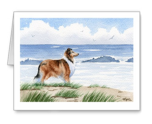 Collie at the Beach - Set of 10 Note Cards With Envelopes