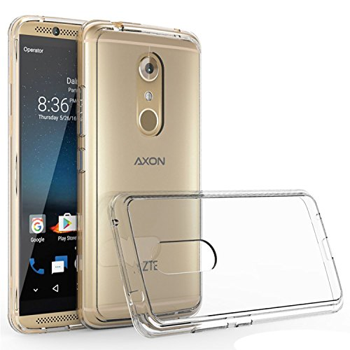 Compatible with:ZTE Axon 7 Case,Axon 7 Case,ZTE Axon 7 2016 case, Wtiaw [Scratch Resistant] Acrylic Hard Cover with Rubber TPU Bumper Hybrid Ultra Slim Protective for ZTE Axon 7-YKL Clear
