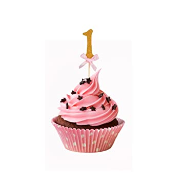 Amazoncom Pink and Gold 1st Birthday Decorations Number 1