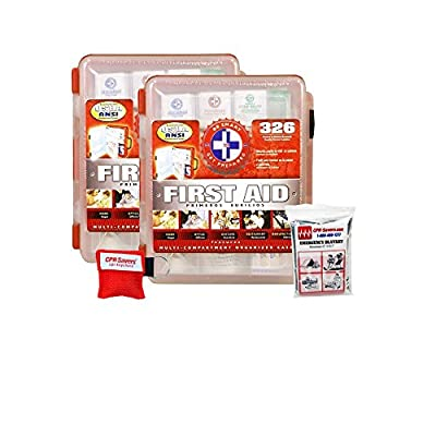 Tactical First Aid Kit: 2 Pack First Aid Kit With Hard Case - 326 pcs each - First Aid Complete Care Kit - CPR Savers Keychain & Emergency Mylar Blanket from Be Smart Get Prepared