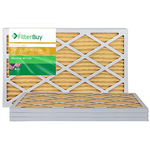 FilterBuy 17x20x1 MERV 11 Pleated AC Furnace Air Filter, (Pack of 4 Filters), 17x20x1 – Gold
