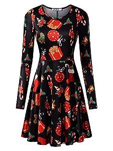 KIRA Women's Christmas Dress Xmas Gifts Print Flared Swing A Line Dress
