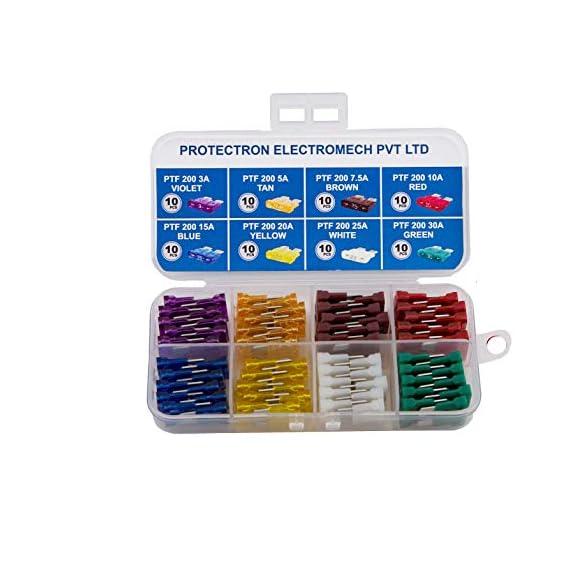 PROTECTRON 80pc Assorted MIDI BLADE (ATO/ATC) Auto Car standard Fuse kit- 3A, 5A,7.5A 10A, 15A, 20A, 25A, 30A