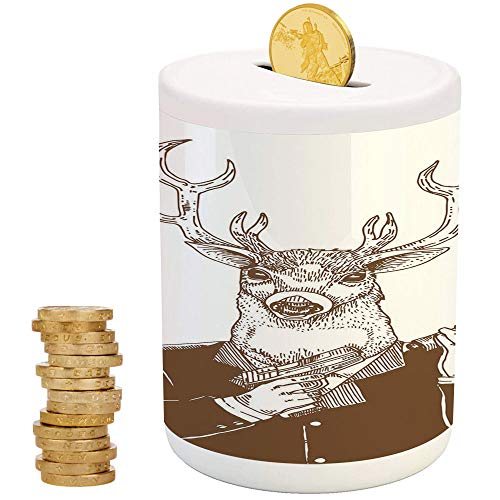 Modern,Ceramic Girls Bank,Printed Ceramic Coin Bank Money Box for Cash Saving,Reindeer Man in Suit with A Gun Mafia Humor Wild Life Artistic Illustration