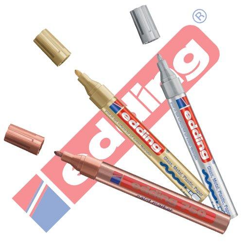 EDDING 750 Lackmarker 3er Sparpaket | 9 Farben & Sortierte zur Auswahl! (Sortiert Metallic)