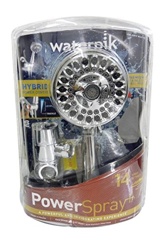 Waterpik Power Spray ShowerHead 14 Mode Spray Settings Hand Held Shower Head with Optiflow PowerSpray Plus with 5' Hose Stainless Steel Hybrid Power Control Chrome-Massage Full Body Spray