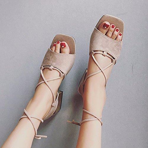 la tacco cinghia Resort sandali Scarpe scarpe e Beach XIAOGEGE donna Alta Brown cross xaEqawY0