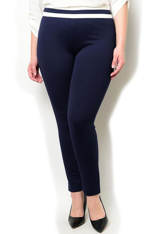 DHStyles Women's Plus Size Zipper Striped Stretch Pants