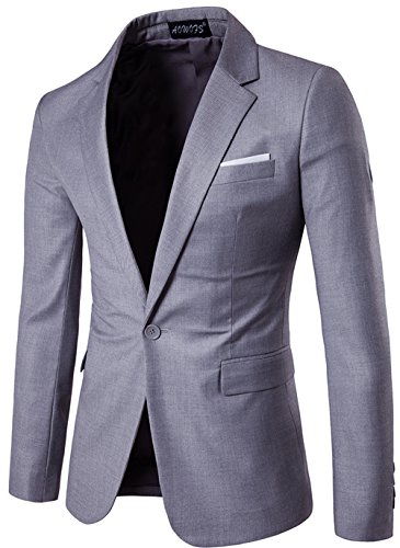 Suit Veste Tops Fit Blazer Outwear Clair Mens Costume Coton Homme Mince Jacket Slim Gris Classique One Ws668 Casual button Vest De qT8P4w7x