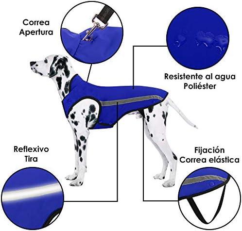 Chaqueta de invierno para perros forro de franela desmontable abrigo para perros cuello ajustable y tamaño de pecho pequeños medianos grandes 6