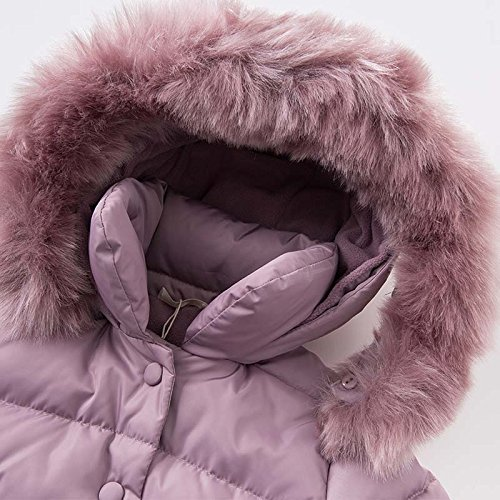 DAVE & BELLA Winter Baby Girls Down Jacket Children White Duck Down Padded Coat Kids Hooded Outerwear - Grey Pink (4T) by DAVE & BELLA (Image #3)