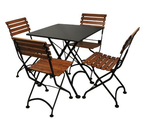 amazoncom mobel designhaus french caf bistro folding side chair jet black frame european chestnut wood slats with walnut stain pack of 2 dining - Bistro Chairs