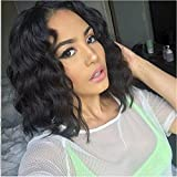 Foxys' Hair Full Lace Wig Human Hair Pre-Plucked Natural Hairline 130% Density Short Wavy Full Lace Wig Bleached Knots on sell (12 inch, full lace wig)