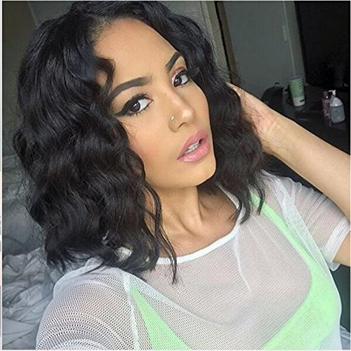 Foxys' Hair Full Lace Wig Human Hair Pre-Plucked Natural Hairline 130% Density Short Wavy Full Lace Wig Bleached Knots on sell (12 inch, full lace wig) by Foxys'Hair