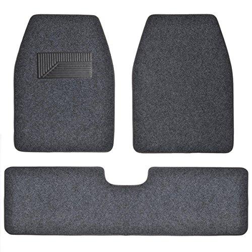 BDK 3 Piece Full Set Premium Heavy Duty Carpet Mats for SUV Van Trucks - Dark Gray