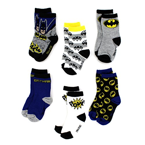 Batman Toddler 6 pack Crew Socks (4T/5T, Batman Pow!)